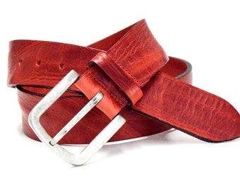Red leather jeans belt vintage jeans belt made of soft fullgrain leather with antique silver buckle