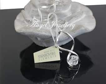 Fashion Handmade Swarovski Crystal Earrings Clear Crystal Sterling Silver 925 For Pierced Ears Perfect Gift For Ladies