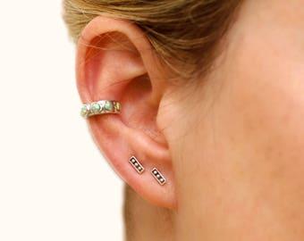 Sterling Silver Ear Cuff Earring Light Turquoise Opal Stones Inlay Ear Wrap Earrings Boho Jewelry - ECU009