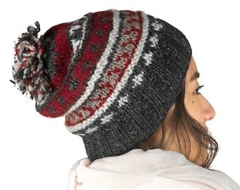 Wool Hat, Slouchy Beanie Pom Pom, Warm Winter Hat, Hand Knitted Hat, Slouchy Hat, Wool Winter Hat