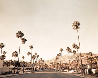 Palm Springs Photography, Mid Century Modern Art, Gold Wall Decor, Beige Print, Palm Trees, Mid Century Decor, California Photography