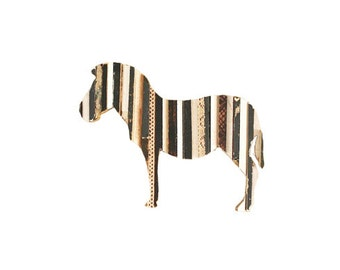 Zebra Stripes Art Recycled Wood