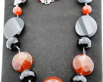 Carnelian and Onyx Faceted Necklace