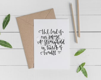 Christian Greetings Card - 'The Lord is our refuge' - Blank Card - Encouragement Card - Sympathy Card - Eco Friendly