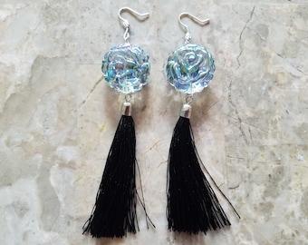 Iridescent Rose Tassel Earrings