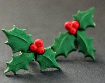 Christmas Holly Earrings. Holiday Earrings. Christmas Earrings. Post Earrings. Stud Earrings. Handmade Jewelry.