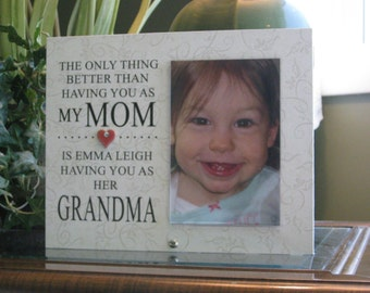 Grandma Frame, Grandma Gift, Grandma Picture Frame, Grandma Photo Frame,  4 x 6 photo, Ceramic Heart