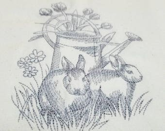 Bunny Easter Spring Tea Towel Dish Towel Kitchen Towel - Watering Can
