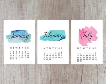 2018 Calendar, Watercolour Calendar, Wall Calendar, Desk Calendar, Printable Calendar, Calendar Template 2018, Instant Download