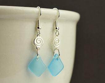 Light blue sea glass earrings danlge earrings seaglass earrings seaglass jewelry sea glass jewelry handmade jewelry beach glass gifts