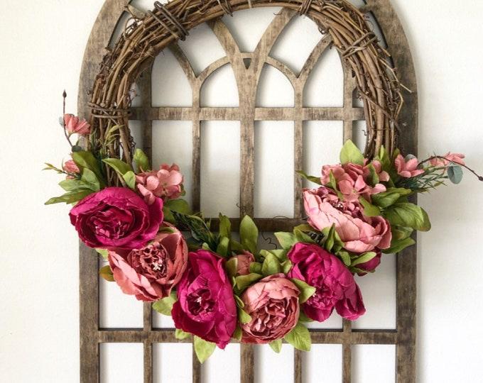 Spring Wreaths for Front Door - Peony Wreath - Punch Peony Wreath - Spring Wreath - Summer Wreath - Front Door Wreath - Farmhouse Wreath