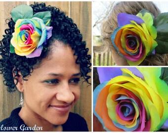 Rainbow Rose hair flower clip, rainbow rose barrette