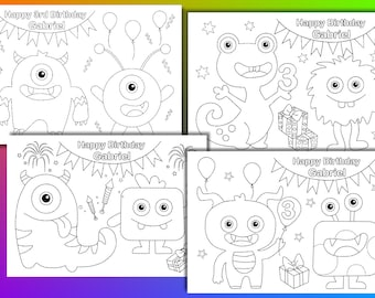 Monster coloring pages, Monster Birthday Party Favor, PDF file