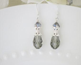 Gray crystal earrings-Sterling silver earrings-Swarovski crystal teardrop earrings-Grey dangle bridal earrings-Wedding earrings