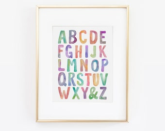 Alphabet Print, ABC Print, ABC's Wall Art, Alphabet Letters, Nursery Decor, Kids Room Decor, Alphabet kids art, Childrens Art, Printable Art