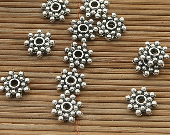 90pcs dark silver tone daisy flower spacer beads h3915