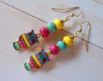 Pink, Aqua Blue and Yellow Owl Boho Earrings (4240)