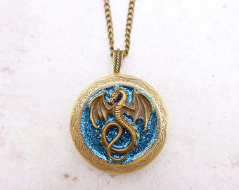 Dragon Necklace  VintageDragon Locket, 3030M