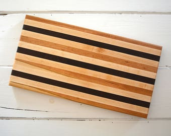 Handmade Wood Cutting Board Serving Tray Handmade with Maple Walnut Cherry and Sapele Wood Kitchen Utensil Rectangle