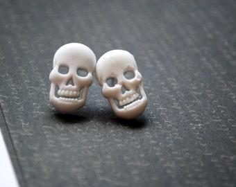 Skull Earrings -- Skull Studs, Halloween Studs