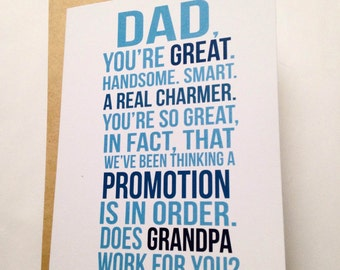 New Grandpa Card - First Time Grandpa - Baby Announcement - Family Baby Announcement - Pregnancy Reveal Card - Father's Day