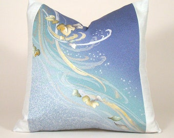 Hand Painted Swirling Leaves Vintage Japanese Silk Kimono Pillow Cover; Nature Inspired Pillow, Japanese Kimono Pillow, Blue Ombre Pillow