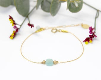 Amazonite - Collection NORAH (minimalist, semi precious stone, lapis lazuli, red, green, rose quartz) and NOAH bracelet - Gold