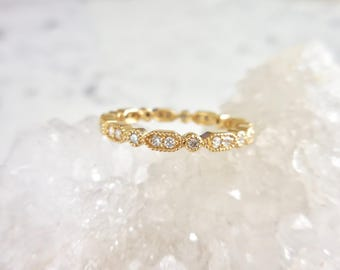 Diamond Eternity Band, Diamond Eternity Ring, Marquise and Round Diamond Ring, 14k Yellow Gold,  Unique Diamond Band, Fancy Diamond Ring