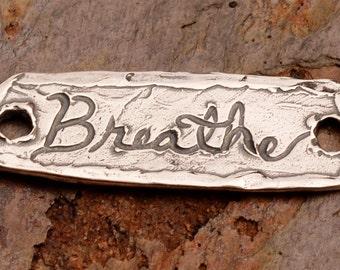 Rustic Breathe Bracelet Link in Sterling Silver, LL-375, Yoga Jewelry, Zen Jewelry