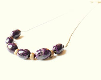 Beads and copper necklace, Tagua nut beaded necklace, Copper necklace