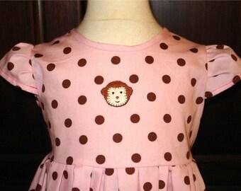 Monkey Applique Polka Dot Girls Dress - Size 1 - Banana Applique