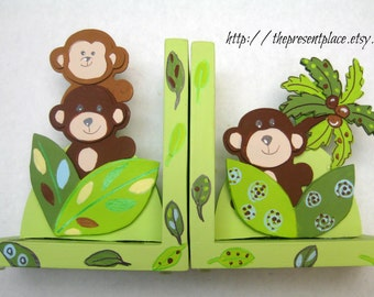 Peek a boo monkey bookends to match bedding,personalized,children's bookends,kids book ends,baby's bookends. monkey theme, monkey bookends