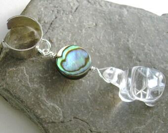 Sea Turtle Ear Cuff, Crystal Quartz Honu Cartilage Earring, Abalone Shell Jewelry
