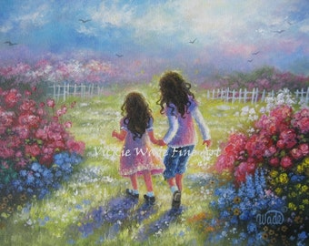 Two Sisters Art Print, two girls holding hands, girls room wall art, two brunette girls, children's wall art flower garden, Vickie Wade Art