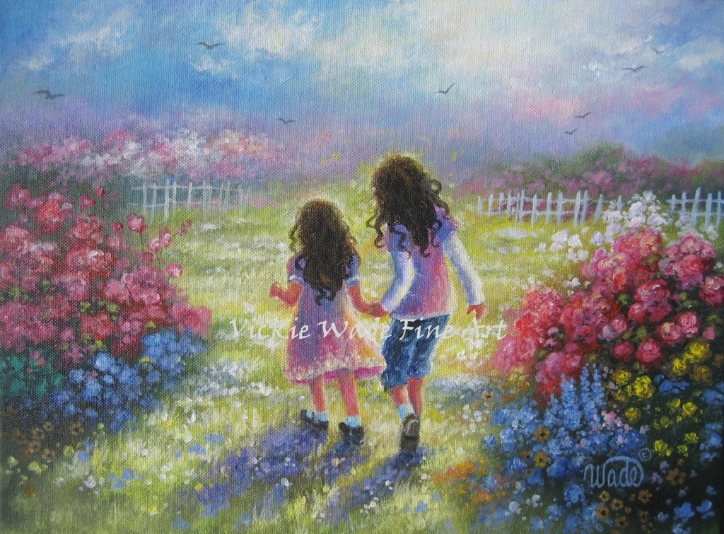 Two Sisters Art Print Two Girls Holding Hands Girls Room