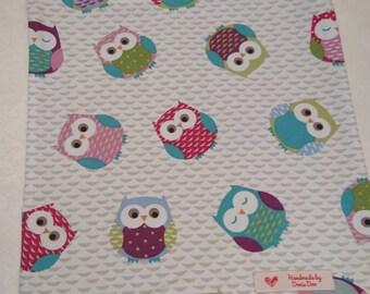 Handmade tote shopping bag, owls, owl print