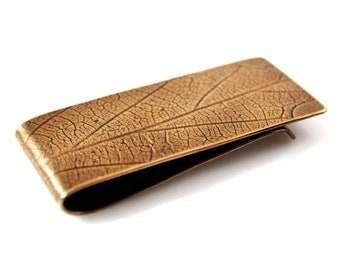 Money Clip, Bronze with Leaf Pattern, Groomsmen Gift