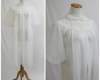Vintage 60's LORRAINE White Poof Sleeve Lace Double Chiffon Robe Peignoir Lingerie Mid Century Housewife