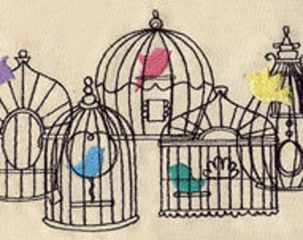 Beautiful Birdcages Embroidered Flour Sack Hand/Dish Towel