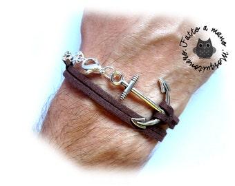 Men's bracelet, anchor bracelet, nautical bracelet, suede leather, sailor bracelet, ANCHOR SILVER,