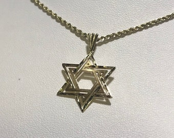 """14k Yellow Gold Star of David on 22"""" Rope Chain Necklace"""