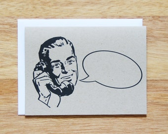 Retro Man Word Bubble Greeting Card
