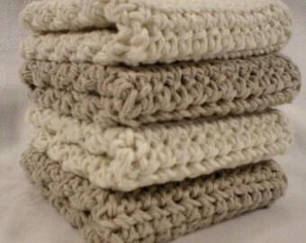 Handmade Crochet Cotton Washcloths or Dishcloths, Set of 4: 2 Beige, 2 Cream (#6290)