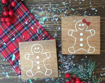 Gingerbread boy and Gingerbread girl set mini wood signs