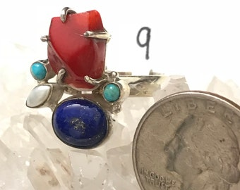 Lapis, Turquoise, Pearl and Red Branch Coral Ring Size 9