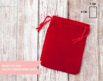 Red velvet drawstring bag extra small  7cm x 9cm