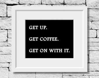 Monday Quote, Office Quote, Work Quote, Coffee Quote, Minimalist, Office Decor, Coffee Print, Motivational Poster, Quote Decor, Word Art