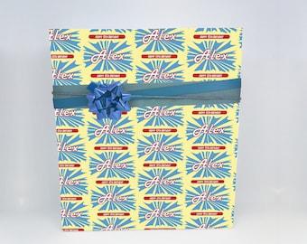 Custom Happy Birthday Wrapping Paper - Retro Style- GW038