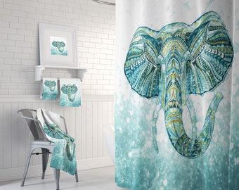 Boho Chic Elephant Shower Curtain , Bath Mat, Bath Towls , Green, Aqua , Teal Bathroom Set