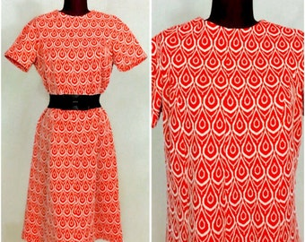 MOD Vintage Large L Dress VALENTINE ReD Midi Knee Length BAROQUE